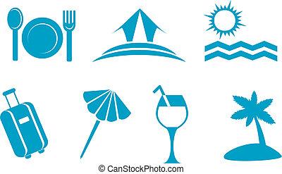 Leisure and travel symbols isolated on white