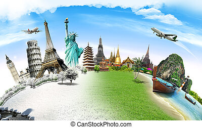 Travel the world monument concept