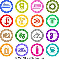 Travel, Vacation & Recreation, icons set. Sport, Tourism. Vector illustration