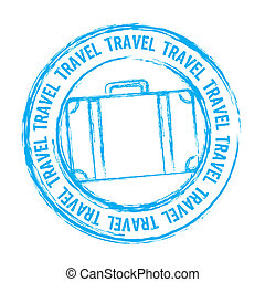 blue travel stamp isolated over white background. vector
