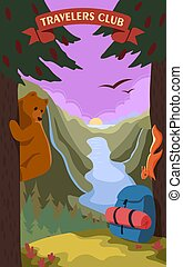 Travelers club vector illustration. The bear is sitting on a tree. A squirrel on a tree looks at a backpack. A blue backpack stands in front of a tree.
