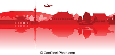 Illustration of famous buildings and monuments in East Asia