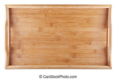 Entire view of a wooden tray isolated over white