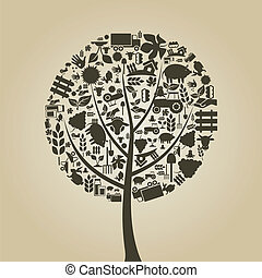 Tree with a crone from agriculture subjects. A vector illustration