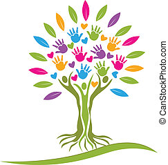Tree people hands and hearts icon vector