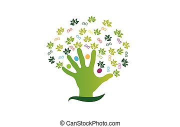Tree Hand People Figures Logo