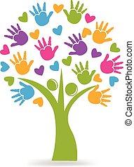 Tree hands and hearts logo