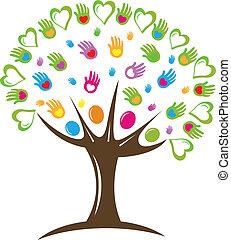Tree hearts and hands symbol logo