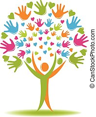 Tree logo hands and hearts figures