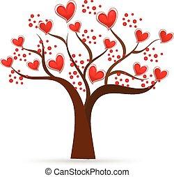 Tree of love Valentines hearts logo
