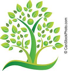 Tree teamwork people symbol logo