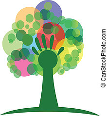 Tree with hand and colored bunches bubbles illustration vector