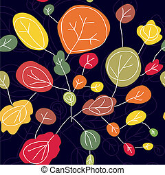 Trees autumn seamless pattern bright