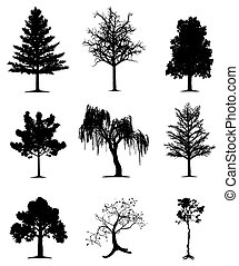 Collection of 9 trees on isolated white background. EPS file available.