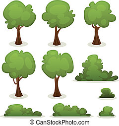 Illustration of a set of cartoon spring or summer trees and other green forest elements, with bush, hedges
