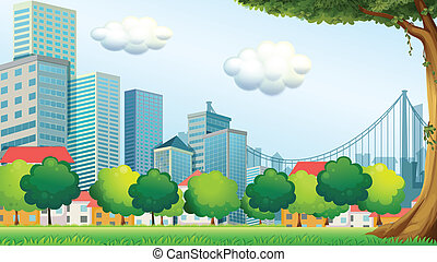 Illustration of the trees near the tall buildings
