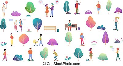 Trendy vector gradient flat design of various people walking, playing, talking outdoor in the park isolated on white.