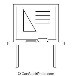 Triangle on a school blackboard icon outline style