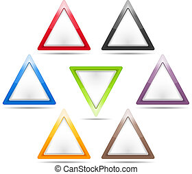 Set of blank triangle signs, vector eps10 illustration