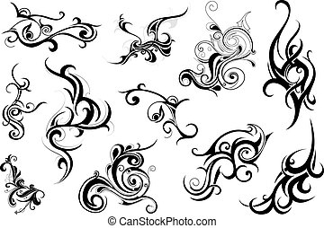 Set of elegant tribal art elements