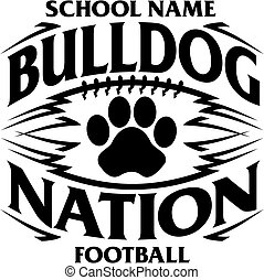 tribal bulldog nation football team design with paw print for school, college or league