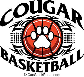 tribal cougar basketball team design with paw print for school, college or league