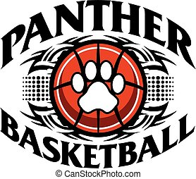 tribal panther basketball team design with paw print for school, college or league