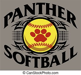 tribal panther softball team design with paw print inside ball for school, college or league