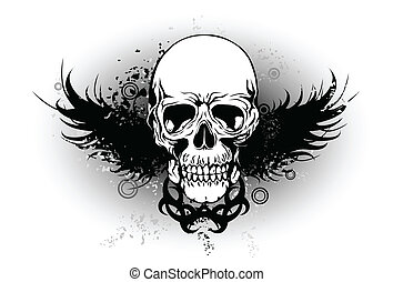 tribal skull with wing