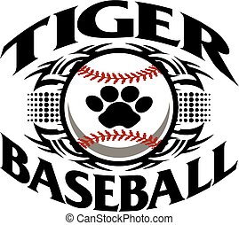 tribal tiger baseball team design with paw print inside ball for school, college or league