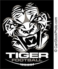 tribal tiger football team design with paw print for school, college or league