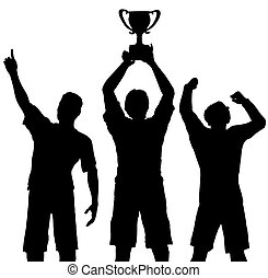 Silhouettes of three team players win a trophy and celebrate a sports or business victory.