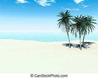 A sunny tropical beach with three palm trees.