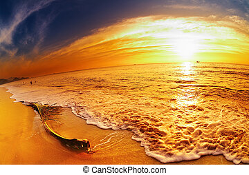Tropical beach at sunset, Chang island, Thailand, fisheye shot