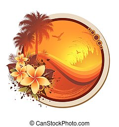 An abstract tropical frame with seagulls, palm trees, flowers and grunge waves.