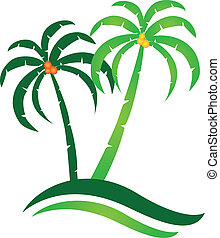 Tropical island logo vector