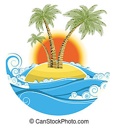 Tropical island. Vector color symbol seascape with sun isolated on white background