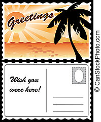 Sunny tropical landscape travel postcard, ocean, palm tree, sun rays. Copy space for custom greetings, address. Full size postcard, front and back, 8.5 inch by 5.5 inch. EPS8 organized in groups for easy editing.