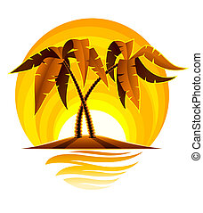 tropical palm on island in ocean with sunset