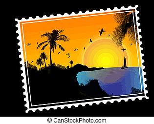 Tropical paradise postal stamp on black, vector illustration