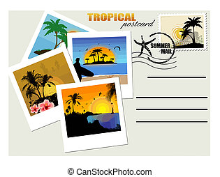 Travel postcard, with tropical instant photos. Copy space for location, greetings, address. Vector illustration