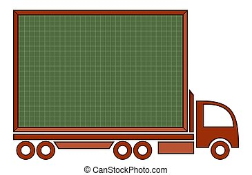 Truck with a blackboard.