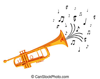 A trumpet with notes coming out from it symbolizing that it's playing music. The image is isolated on white.