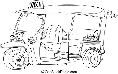 TUK-TUK is the name of Thailand Taxi one of the best way to explore urban city in Black and white outline