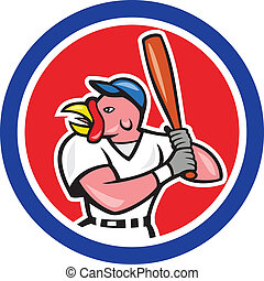 Turkey Baseball Hitter Batting Circle Cartoon
