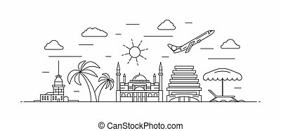 Turkey panorama. Turkey vector illustration in outline style with buildings and city architecture. Welcome to Turkey.