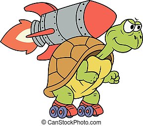 Turtle with rocket