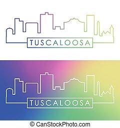 Tuscaloosa skyline. Colorful linear style.