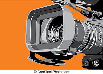 art illustration of tv camcorder in studio