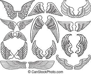 Twelve Sets of Black and White Angel Wings